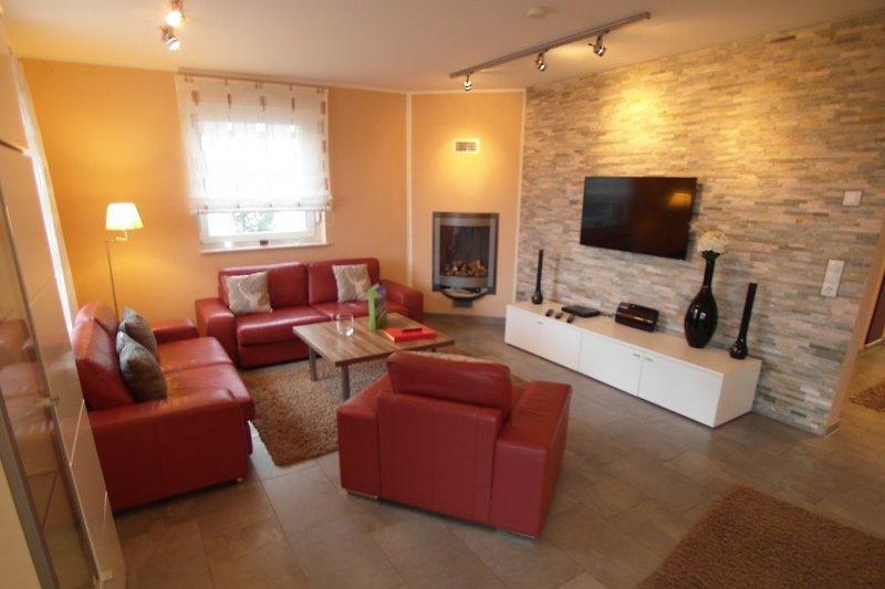 Wohnzimmer mit Sky TV