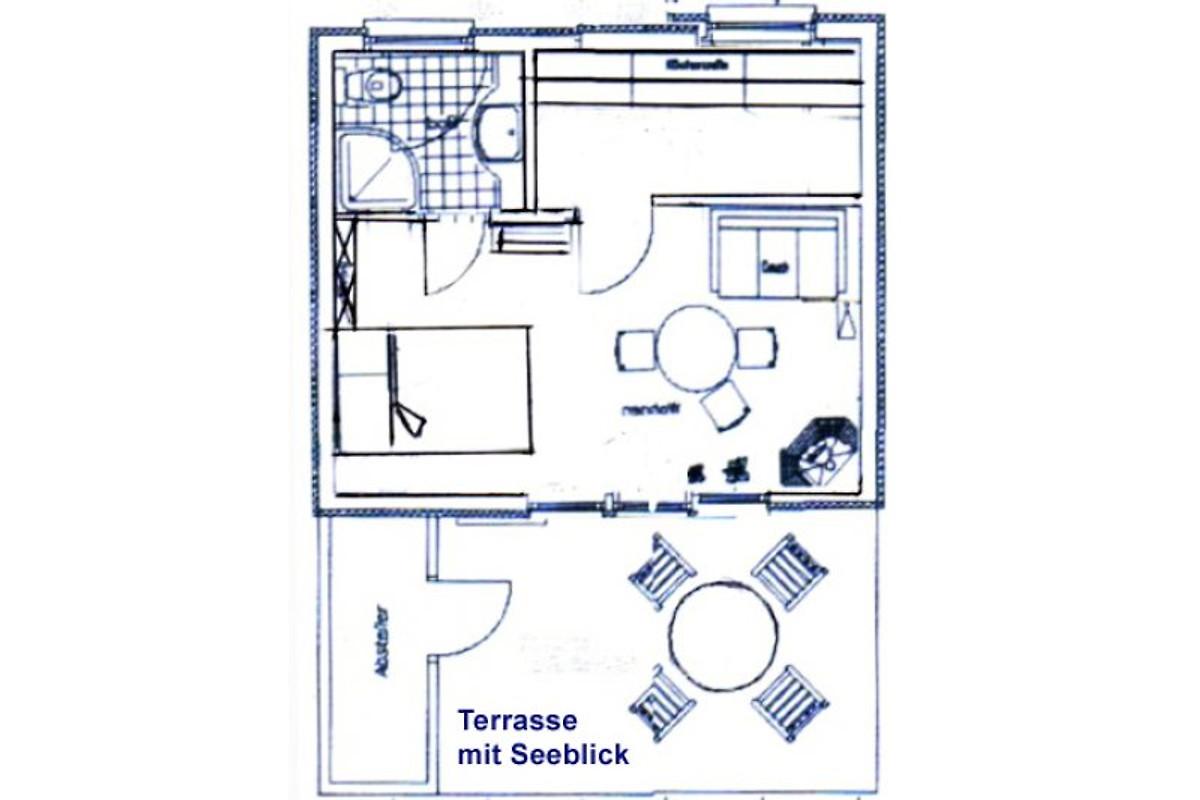 bungalow mit boot und seeblick maison de vacances dahmen louer. Black Bedroom Furniture Sets. Home Design Ideas