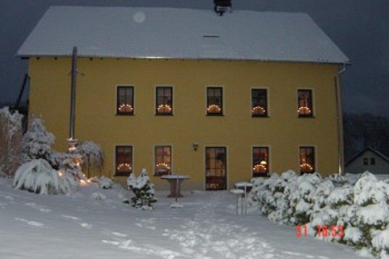 Winter im Garten zur Weihnachtszeit