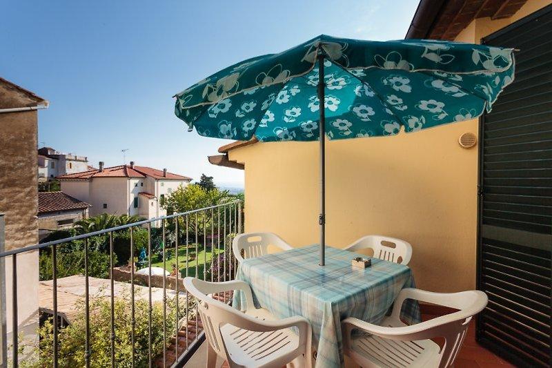 Privaten Balkon des Appartments Orange