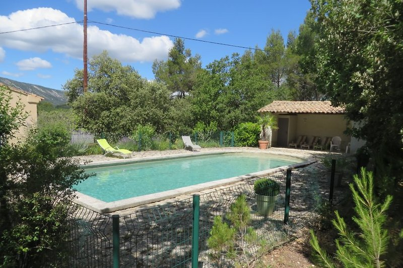 der Pool mit Poolhause