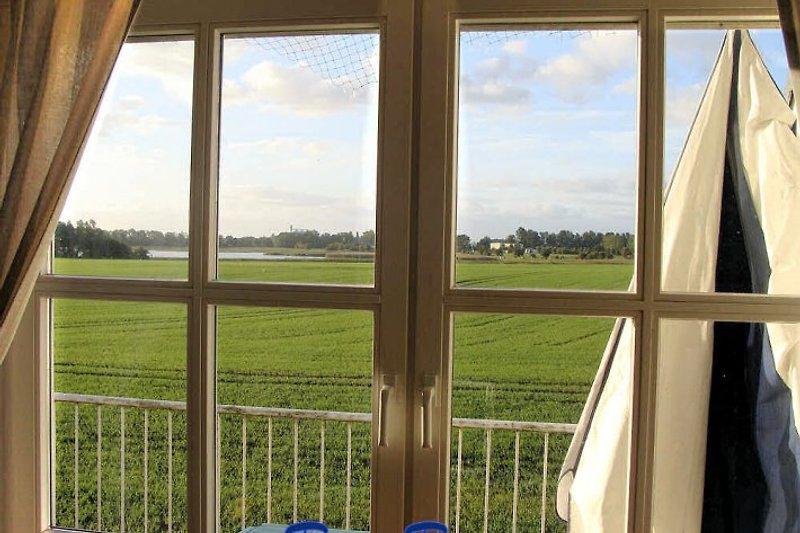 Blick aus dem Fenster über Wiesen auf die Küste