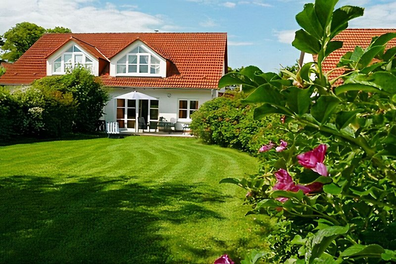 Ferienhaus mit Terrasse: Garten ist eingezäunt u. Spielwiese für Kind u. Hund.  Gartenmöbel, Sonnenschirme u. Grill