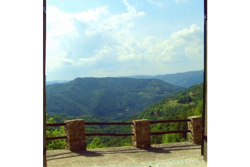 Den grünen Hügeln des Piemonts aus dem Fenster des Schlafzimmers.