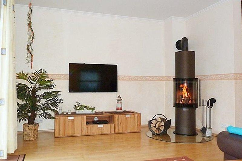 Wohnbereich mit Designer-Kamin-Ofen