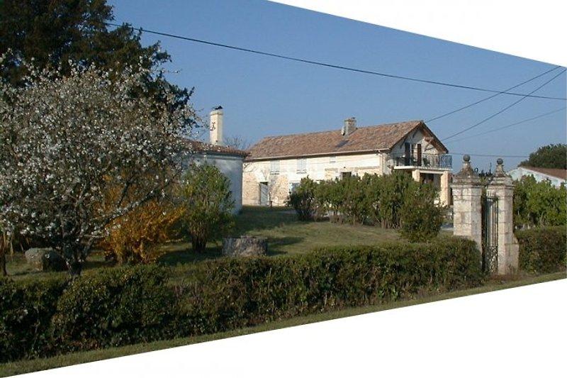 Blick aufs Grundstück mit den beiden Häusern